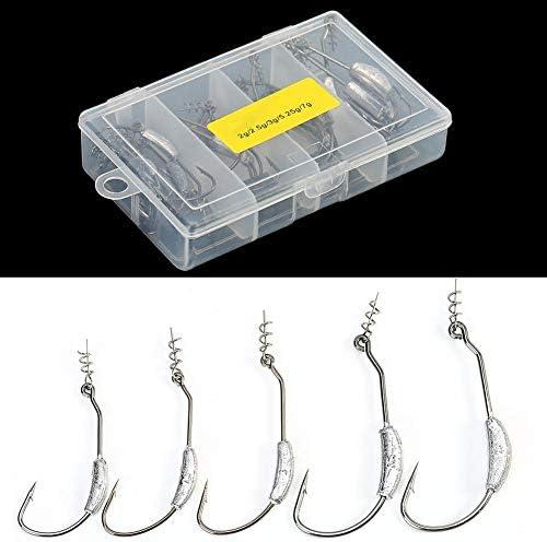 釣りフック、26本の有刺鉄線シャープ釣り餌フック、鉛重量釣りタックルアクセサリー付き