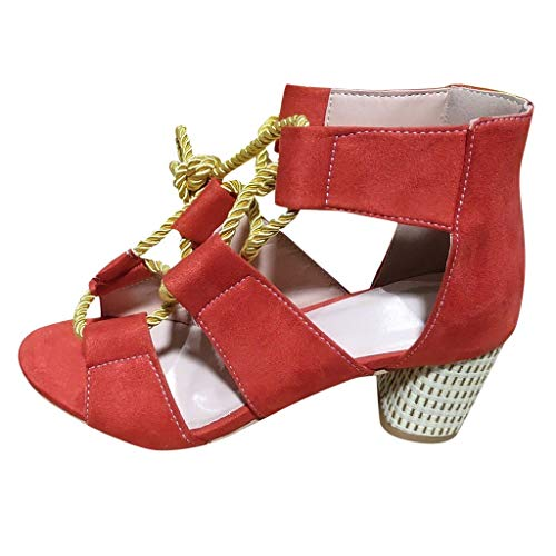 Women's Chunk Low Heel Pump Sandals Ankle Strap Platform High Chunky Heels Party Sandal Open Toe Shoes Red