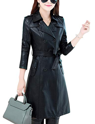 on Lapel Double Breasted Lambskin Leather Mid Long Jacket Coat (Black, Medium) ()