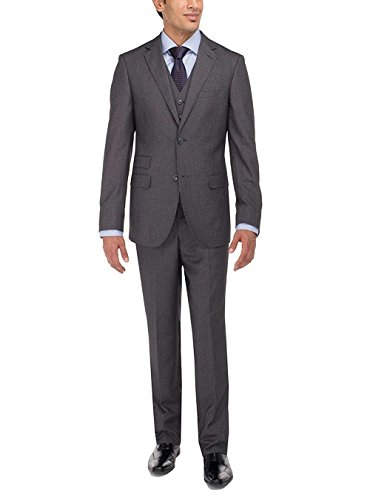 Luciano Natazzi Men's Two Button Tweed 3 Piece Modern Fit Vested Suit (50 Regular US / 60 Regular EU, Charcoal) by Luciano Natazzi