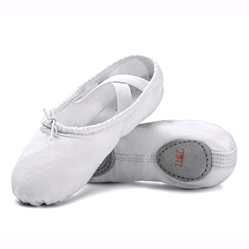 STELLE Girls Canvas Ballet Slipper/Ballet Shoe/Yoga Dance Shoe (Toddler/Little Kid/Big Kid/Women/Boy) (White,