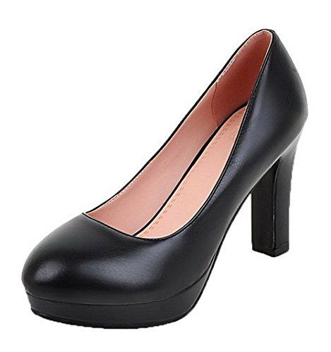 AgooLar Femme Tire à Talon Haut Plate-Forme Étanche Rond Chaussures Légeres Noir FYIn15OIN
