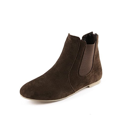 Allhqfashion Mujeres Round Closed Toe Sin Talón Frosted Low-top Solid Botas Marrón