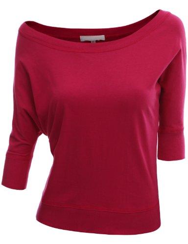 Doublju Women Half Sleeve U-Neck Stretchy Fabric FUCHSIA Mini Top,S
