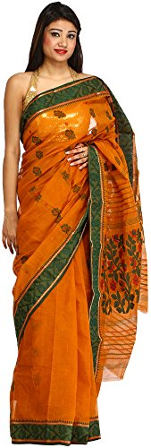 Exotic India Sudan-Brown Purbasthali Tant Sari from Bengal with Woven Flowers