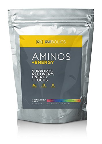 Purbolics Aminos + Energy | Supports Recovery, Energy & Focus | 95mg of Caffeine, 0 Calories & 60 Servings (Sour Rainbow Candy)