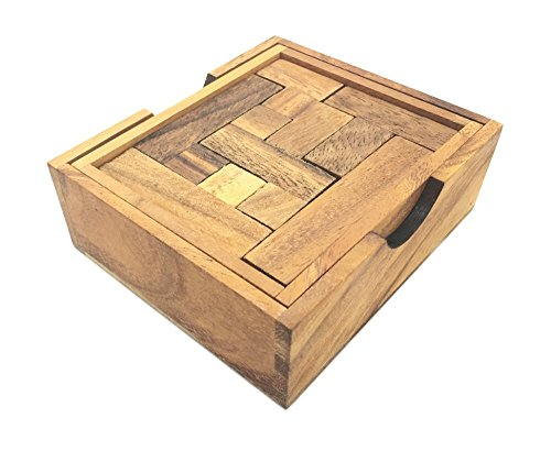 Handmade Maze Puzzle - Wooden 3D Brain Teaser Stacking Problem. A Classic Handmade Pentominoes Puzzle - Wooden Puzzles for Adults, Products From Thailand. (Brain Puzzle Pentominoes Teaser)
