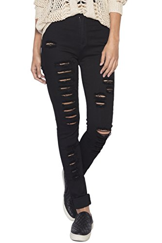 [TheMogan Women's High Waist Distressed Destructed Ripped Skinny Jeans Black 11] (Destructed Womens Skinny Jeans)