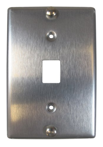 Allen Tel Products AT630A-6 Single Gang, 1 Port, 6 Position, 6 Conductor Wall Telephone Outlet Jack, Stainless (Tel Products Mount Plate)