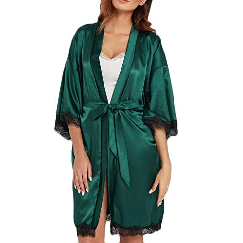(♥ HebeTop ♥ Women Sexy Silk Sleepwear Satin Lace Trim Nightwear Short Kimono Robe Green)