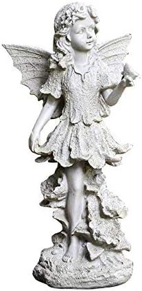マイクロ風景ガーデン装飾、 ホームガーデンパス芝生のための庭樹脂漫画のキャラクターの天使の彫刻装飾工芸美容エルフエンジェルの羽飾り (Color : White, Size : 21x19x45cm)