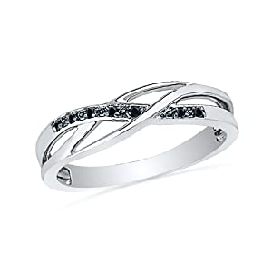 Sterling Silver Round Black Diamond Fashion Ring ( 0.030cttw)