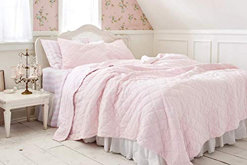 "Shabby Chic Pink Velvet Quilt - King Size (All Cotton) 104"" x 92"""