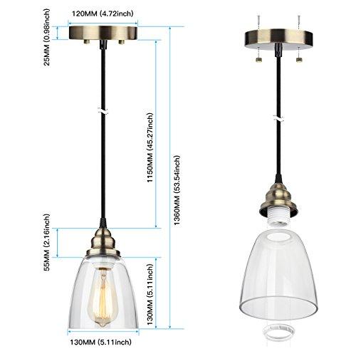 Leonlite 3 Pack Industrial Pendant Lighting For Kitchen: Pendant Light 3-Pack, Farmhouse Edison Hanging Lights