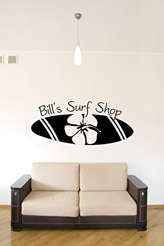Surfboard Surf Shop Personalized Custom Name Vinyl Wall Words Decal Sticker Graphic