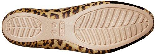 Crocs Frauen Sienna-Leopard-glänzendes Ballett-flache Leopard/Black