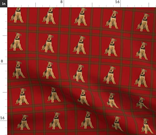Spoonflower Airedale Terrier Fabric - Dog Plaid Welsh Terrier Lakeland Terrier Animals by Miss Peaches Printed on Satin Fabric by The - Satin Lakeland