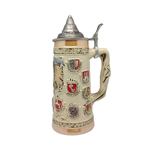 (German Coat of Arms Collectible Engraved Beer Stein with Ornate Metal Lid)