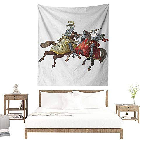 Willsd Medieval DIY Tapestry Middle Age Fighters Knights with Ancient Costume Renaissance Period Illustration Literary Small Fresh 57W x 74L INCH Multicolor