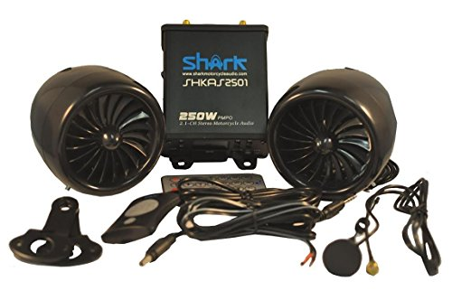 Shark 250 Watt 2.1Ch Water Resistant Amp Channel Motorcycle Boat Snowmobile Audio System, Water Resistant Turbo Style Speakers (Subwoofer Output), LCD Display, Wired & Wireless Remote, shk2501, Black