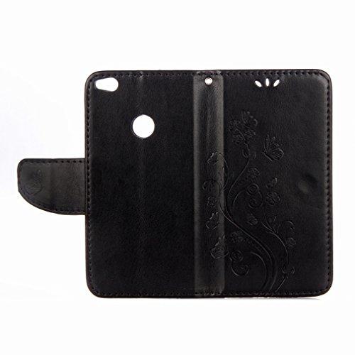 Yiizy Huawei P8 Lite (2017) / Honor 8 Lite / Nova Lite Custodia Cover, Fiori Sollievo Design Sottile Flip Portafoglio PU Pelle Cuoio Copertura Shell Case Slot Schede Cavalletto Stile Libro Bumper Prot