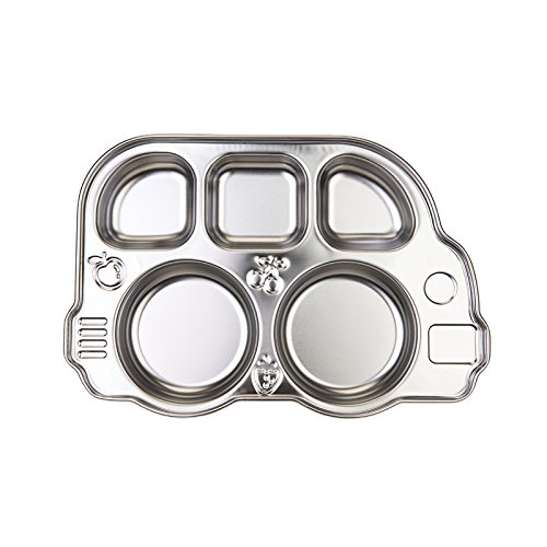 Kids Shaped Plastic Plate (Innobaby Din Din Smart Stainless Divided Platter, Stainless Steel Divided Plate for Babies, Toddlers and Kids. BPA free.)