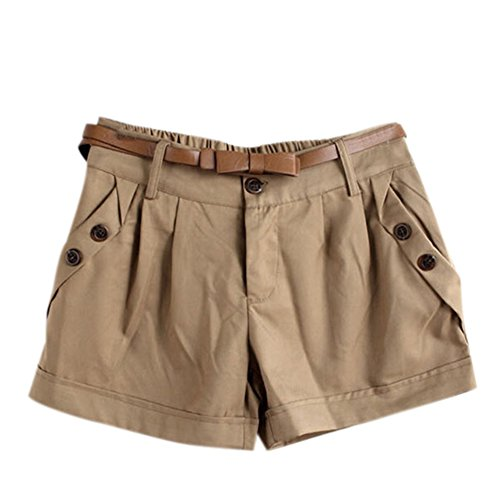 clothingloves-womens-straight-solid-cotton-mid-waist-shorts-large-khaki