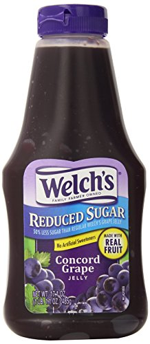 Fructose Corn Syrup (Welch's Reduced Sugar Concord Grape Jelly, No Artificial Flavors or High Fructose Corn Syrup, 17.1 Ounce Squeeze Bottles (Pack of 12))
