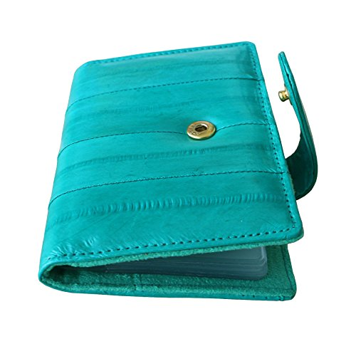 Eel Skin Business Card - Rainbow Women's Genuine Eel Skin Leather Business Card Case Credit Card Wallet (Teal)