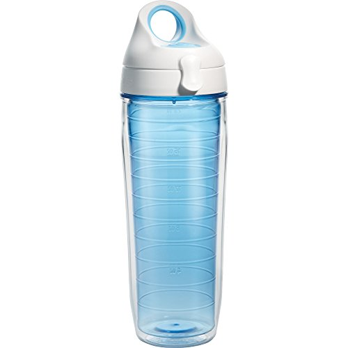 Tervis 1177165 Clear & Colorful, Beachfront Blue Tumbler and White with Blue Lid 24oz Water Bottle, Beachfront Blue
