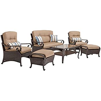 lazboy outdoor lake como 6 piece deep seating resin wicker patio furniture set khaki tan loveseat two lounge chairs two ottomans