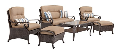 Outdoor Set Recliner (La-Z-Boy Outdoor Lake Como 6 Piece Deep Seating Resin Wicker Patio Furniture Conversation Set (Khaki Tan): Loveseat, Two Lounge Chairs, Two Ottomans, and Coffee Table, With All Weather Sunsharp Cushions)