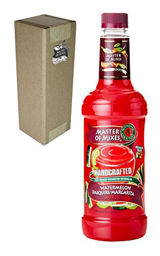 Master of Mixes Watermelon Daiquiri / Margarita Drink Mix, Ready To Use, 1 Liter Bottle (33.8 Fl Oz), Individually Boxed (Chocolate Vodka Drink)