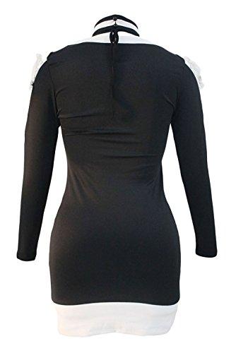 EOZY Robe Noir Femme Moulant Sculptant Bodycon Tunique Soirée Col V