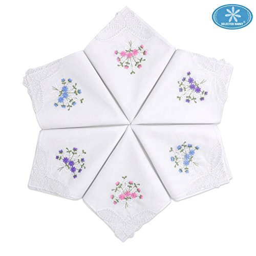 [Selected Hanky Ladies/Women's Cotton Handkerchief Flower Embroidered with Lace 6 Pack - Assorted] (60s Fashion Men)