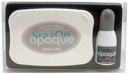 Tsukineko StazOn Opaque Un-Inked Pad and Inker, Mellow Mint