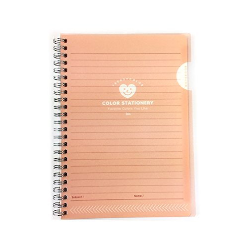 ibis Simple Slim PP Cover College Ruled Spiral Notebook Note Pad (Pink) (Cover Slim Wirebound)