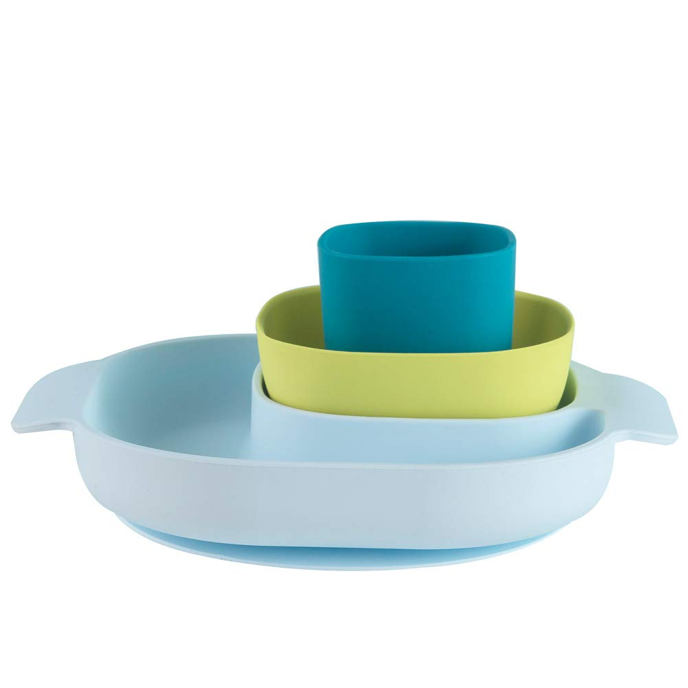 Baby Feeding Set - BPA Free Silicone Suction Divided Plate, Suction Bowl and Cup Set for Baby Toddler Boy and Girl, Microwave, Dishwasher and Oven Safe