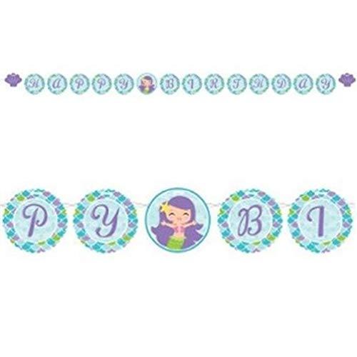 hersrfv home Mermaid Friends Happy Birthday Circle Ribbon Banner Girl Birthday Party Decor -