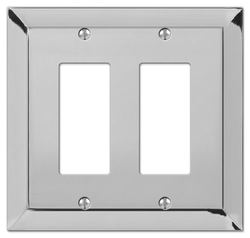 Amerelle Studio Double Rocker Cast Metal Wallplate in Polished Chrome