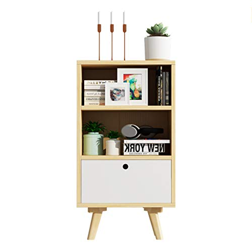 Jia He Nightstand Nightstand-Bedside Table Modern Simplicity Pine Wood Double Open Style Storage + Drawer Storage Lockers Bedside Cabinet @@ (Color : A)