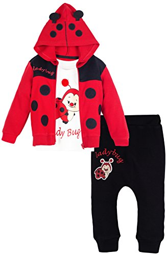 Lilax Baby Girl Soft Cotton Lady Bug Print T-shirt, Pant, and Hoodie Red 3 Piece Outfit Set 9M (Lady Bug Outfit)