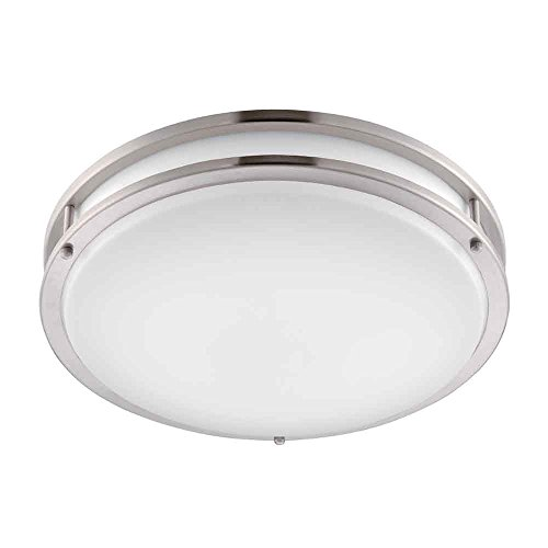 EV1416LED-BN Ceiling Light, LED Flushmount, Brushed Nickel with White Lens by Designers Fountain