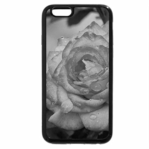 iPhone 6S Plus Case, iPhone 6 Plus Case (Black & White) - Rose and Drops