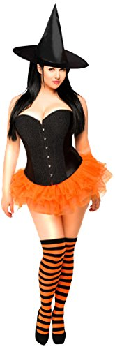 Pin Up Witch Costumes (Daisy Corsets Women's 4 Piece Glitter Pin-Up Witch Costume, Black, Small)
