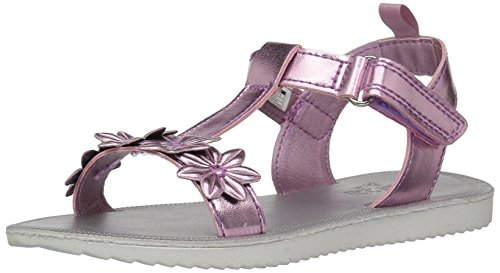 OshKosh B'Gosh Girls' Colette Flower T-Strap Sandal, Pink, 11 M US Little Kid Girls Pink Flower Sandals