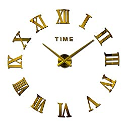 Mirror Surface 3D DIY Wall Clocks Creative Design Room Decorative Wall Watches (Gold)