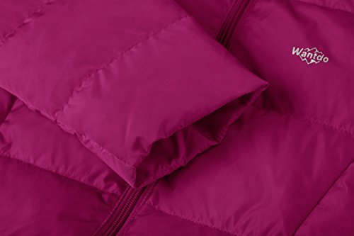 Wantdo Girl's Ultra Light Down Jacket Windproof Hoodies Outwear Short Parka for Camping(Rose Red, 4/5) by Wantdo (Image #6)