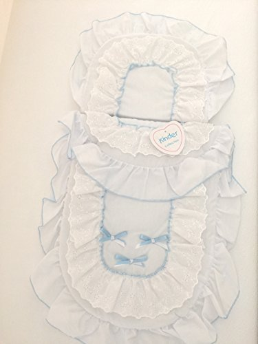 Dolls Pram Set Baby Blue Satin Bows by Kinder by Kinder Collection