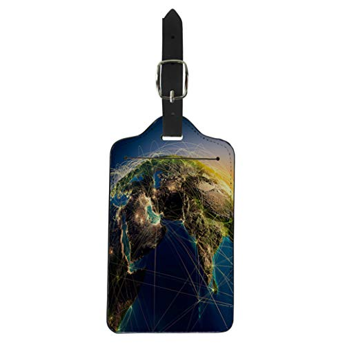 Pinbeam Luggage Tag Highly Detailed Planet Earth at Night Embossed Continents Suitcase Baggage Label